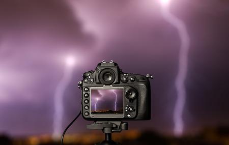 microstock: Digital camera the night view. Beautiful colors.