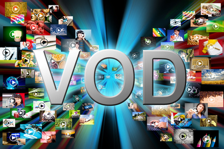 vod: Video on demand VOD service on TV, abstract television concept.