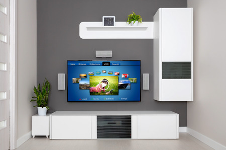 vod: Video on demand VOD service on TV, television concept. Stock Photo