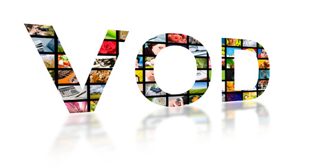 Video on demand abstract text ob white background. Tv concept. 版權商用圖片