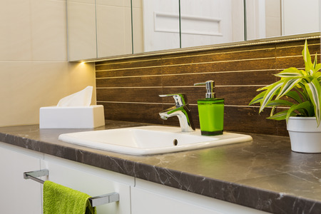 toilet sink: Close up of a wash basin in a modern bathroom interior. Stock Photo