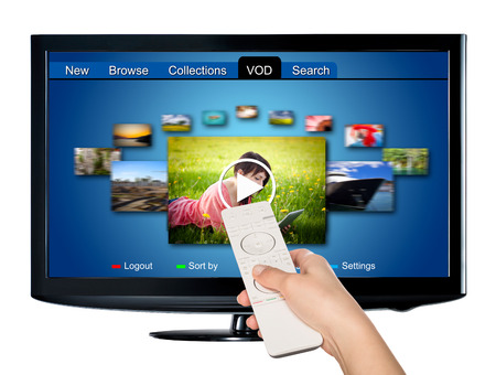 lcd tv: Video on demand VOD service on TV, television concept. Stock Photo