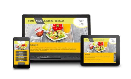 Responsive Webdesign auf mobilen Geräten Handy, Laptop und Tablet-PC Lizenzfreie Bilder