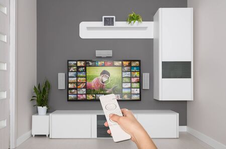 watch: Video on demand VOD service on TV, television concept. Stock Photo