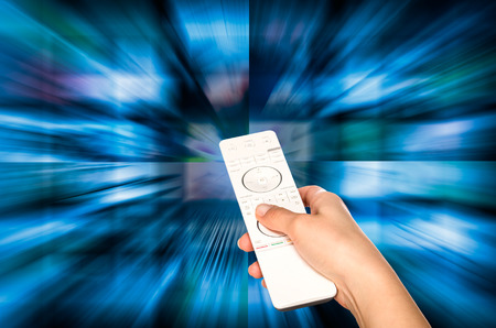video still: LCD TV panels. Television production technology concept. Remote control. Stock Photo