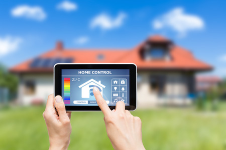 smart home: Remote home control system on a digital tablet or phone.