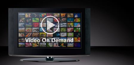 TV에 수요 VOD 서비스, 텔레비전 개념 비디오. 스톡 콘텐츠