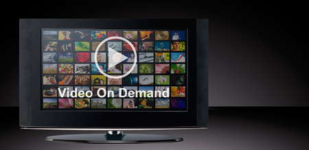 Video on demand VOD service on TV, television concept. 免版税图像