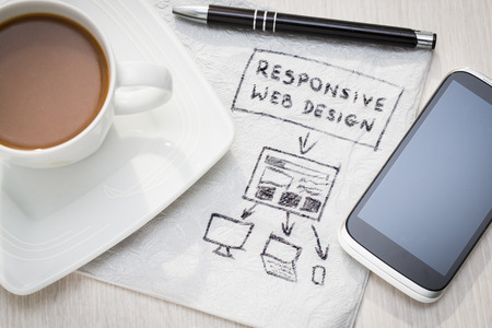 web designing: Designers desk with responsive web design concept