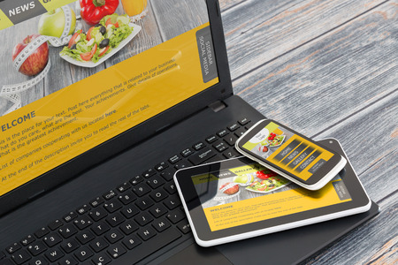 web design template: Responsive web design on mobile devices phone, laptop and tablet pc