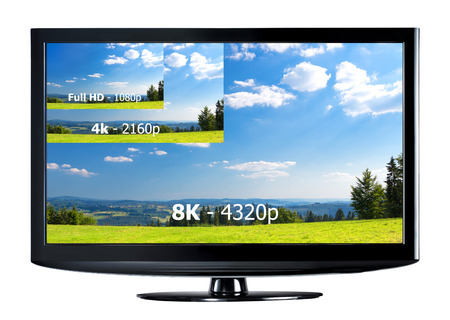 television: Television display with comparison of resolutions. Full ultra HD 8k on modern TV.