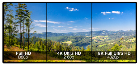 big screen tv: Television display with comparison of resolutions. Full ultra HD 8k on modern TV.