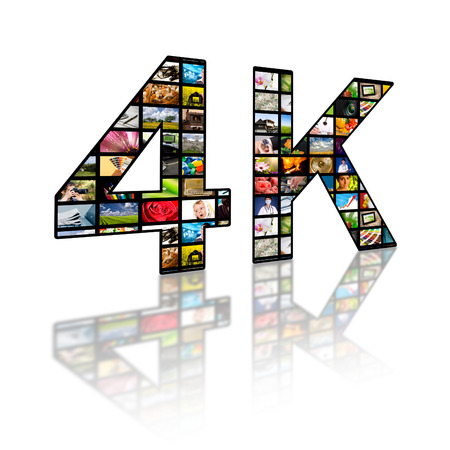 television show: Television 4k resolution technology concept isolated on white. Stock Photo