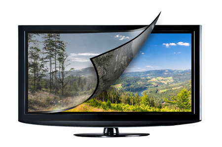 Televisieweergave met nieuwe technologie. Volledige ultra HD 8k op moderne tv. Stockfoto