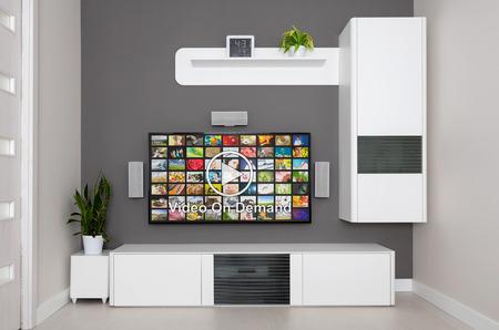 ver tv: Video en servicio VOD demanda en la televisión, el concepto de la televisión.