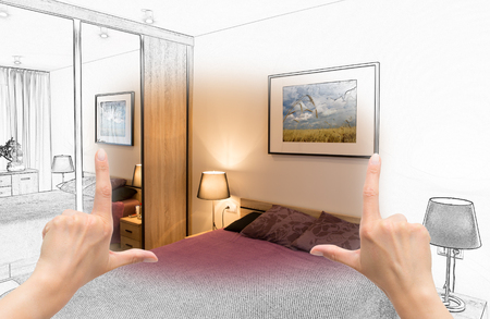 interior drawing: Female hands framing custom bedroom design. Combination drawing and photo.