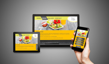 web: Responsive web design on mobile devices phone, laptop and tablet pc