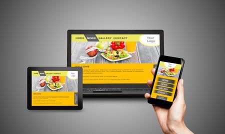 Site web adaptatif sur appareils mobiles téléphone, ordinateur portable et Tablet PC Banque d'images - 44883349