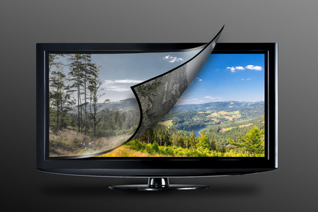 qualities: Television display with new technology. Full ultra HD 8k on modern TV.