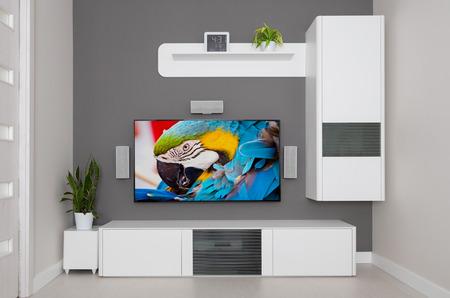 PARLANTE: Moderna sala de estar - TV y altavoces de cine en casa.