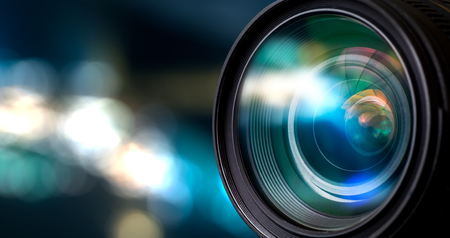 camara de cine: Lente de la cámara con reflejos lense. Foto de archivo
