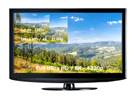 cinema screen: Television display with comparison of resolutions. Full ultra HD 8k on modern TV.