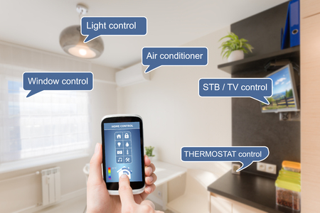 Remote home control system on a digital tablet or phone. Imagens - 44883954