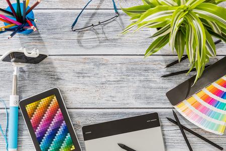 pantone: Design Designer Creative Graphic Desk Table - Stock Image Stock Photo