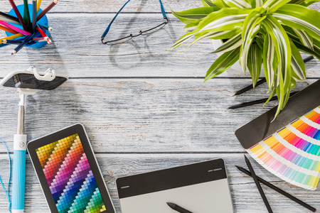 Design Designer Creative Graphic Desk Table - Stock Image Stockfoto