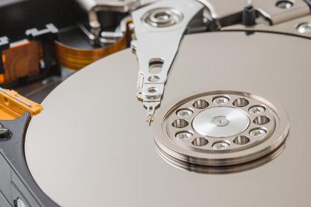 harddisk: Internals of a harddisk HDD. Closeup view of hdd cylinder.