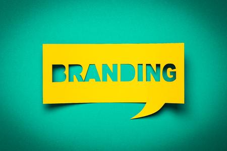 """Discours de Bubble avec découpe phrase """"branding"""" dans le document. Banque d'images - 50912783"""