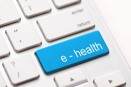 tele: Computer keyboard with e health key. Stock Photo