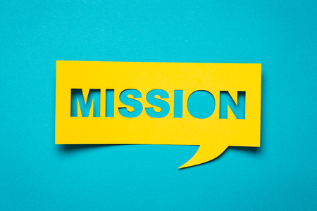discours de Bubble avec découpe expression «mission» dans le document. Banque d'images - 51156130