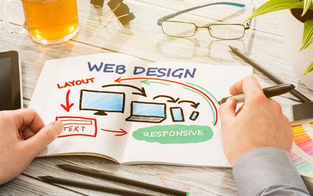 Escritorio del diseñador con la web que responde concepto de diseño.