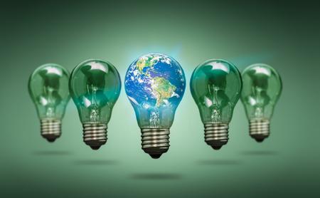 glowing earth: Bulb Light Earth Global World Ecology - Stock Image