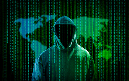 criminal: Hacker with a hood and binary code. Hacking the Internet. Stock Photo