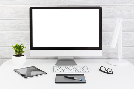 Monitor Space Web Design Empty White Template - Stock Image Stock Photo