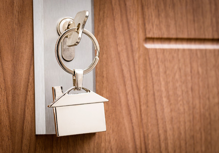 door lock: Key Door Real Estate Rent Home House Broker Buy - Stock Image Stock Photo