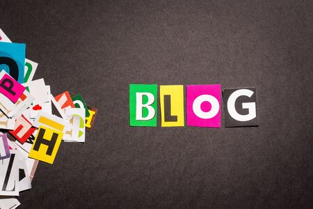 The colorful word blog in cut out magazine letters. Stock Photo