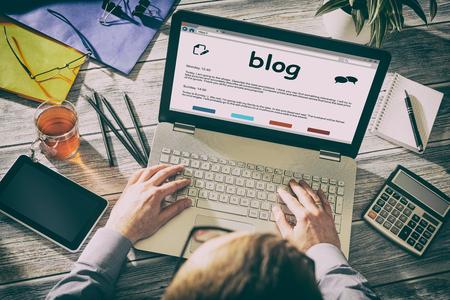 Blog Weblog Media Digital Social Woordenboek Online Concept - Stock Image