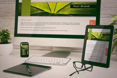 webmaster website: Designers desk with responsive web design concept.