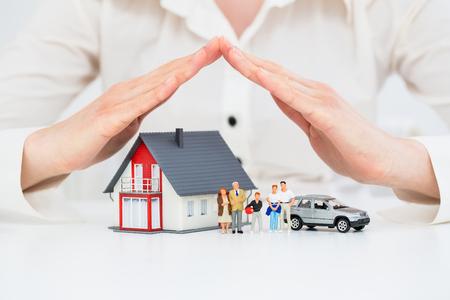 Ubezpieczenie domu Dom żywo samochodów Protection Chroń Concepts Zdjęcie Seryjne