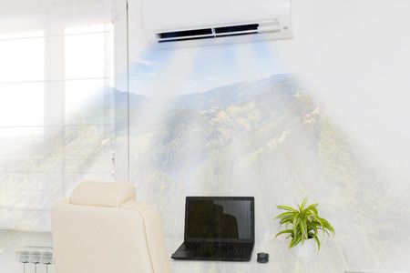 room air: Air conditioner blowing cold air. Home interior concepts.