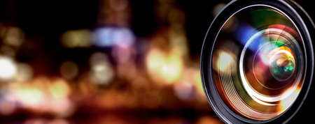 depth: Camera lens with lense reflections.