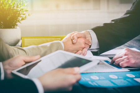 business hand shake people handshake meeting partnership work job -  stock image