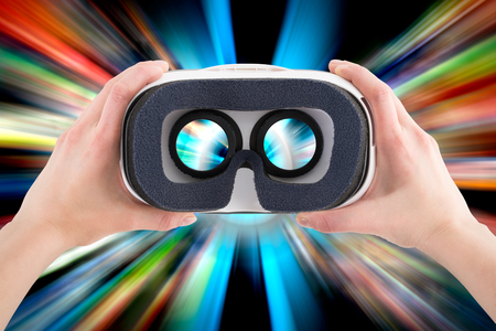 looking glass: virtual vr glasses goggles headset - stock image