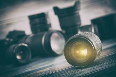 studio photography: Professional Photography Lens Equipment Photographer Work Photo Lenses - Stock Image