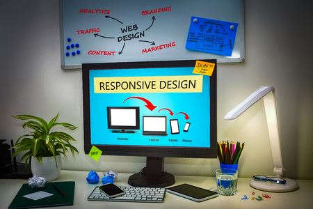 web: Designers desk with responsive web design concept.