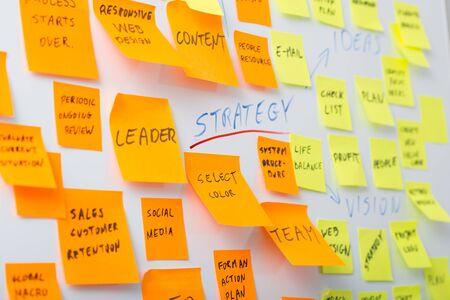 sticky: brainstorming brainstorm strategy workshop business note notes sticky - stock image