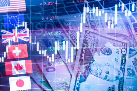 canadian dollar: Forex Markets Currency Trading Global Economy Concept. United Kingdon Pund, European Euro, American and Canadian Dollar, Japanese Yen Currency Stock Photo